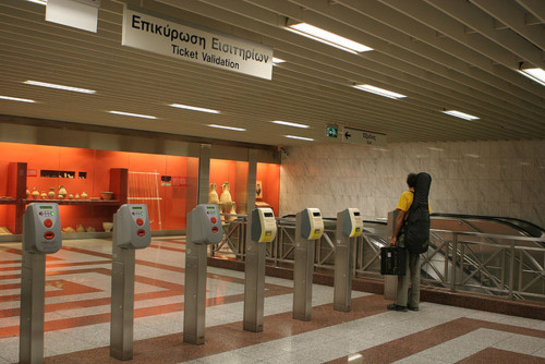 Ticket validation machines at an Athens metro station