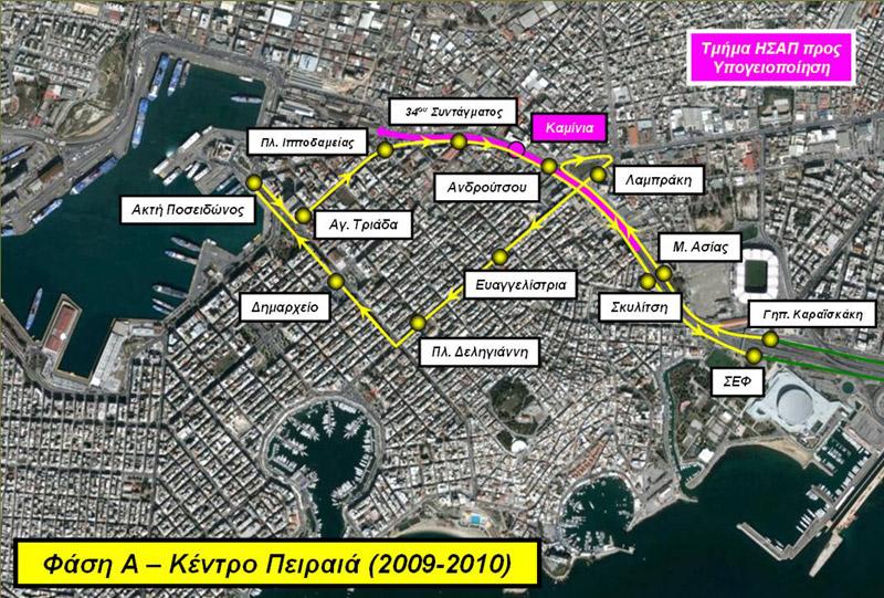 Επέκταση του Τραμ προς Πειραιά, κυκλική γραμμή ΣΕΦ - Ακτή Ποσειδώνος. Πηγή: ΣΤΑΣΥ