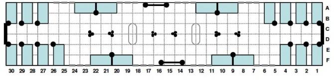 Η προτεινόμενη διάταξη θέσεων των νέων συρμών χωρίς αντικριστές πόρτες και με διαχωριστικά μεταξύ των καθισμάτων