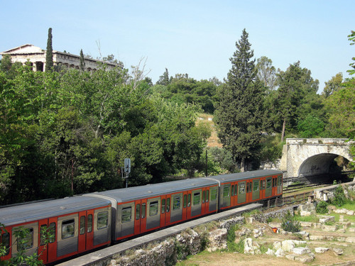Athens metro passing throught ancient agora