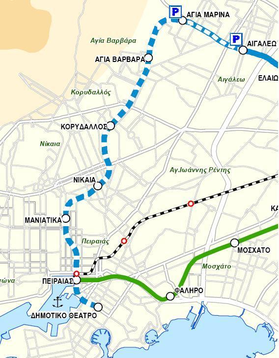 Χάρτης της επέκτασης της γραμμής 3 του Μετρό προς Πειραιά. ΠΗΓΗ: ΑΤΤΙΚΟ ΜΕΤΡΟ Α.Ε.