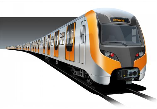 Γραφική αναπαράσταση ενός συρμού 3ης γενιάς του Μετρό της Αθήνας Πηγή: Hyundai Rotem