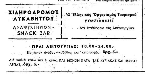 Η πρώτη διαφήμιση για το Τελεφερίκ. Εφημερίδα «Ελευθερία», 20 Απριλίου 1965
