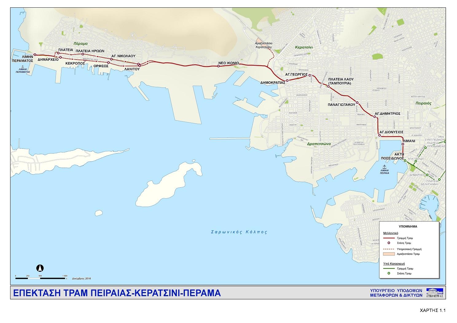 Χάρτης Επέκτασης Τραμ πρoς Κερατσίνι – Πέραμα