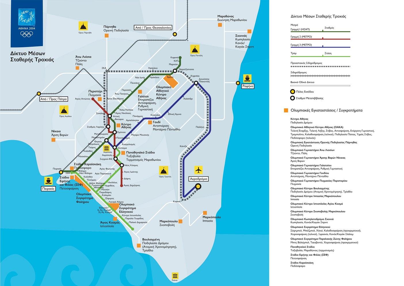 Δίκτυο Μέσων Σταθερής Τροχιάς Αθήνα 2004
